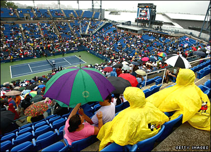 A soggy scene at Flushing Meadows
