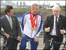 London Organising Committee for the Olympic Games, Chairman Seb Coe, left, British triple gold medal winning cyclist Chris Hoy and Mayor of London Boris Johnson visit the site of the new London 2012 VeloPark