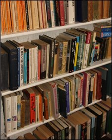 Books on shelves, BBC