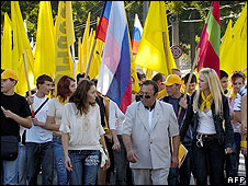 Flag-waving demonstrators in Tiraspol, 2006