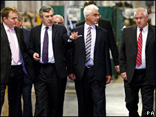 Gordon Brown and Alistair Darling visit the Jaguar plant