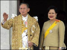 Thai King Bhumibol Adulyadej (left) and Queen Sirikit. File photo