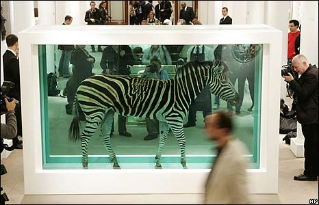 The Incredible Journey by British artist Damien Hirst on display at an auction house in London