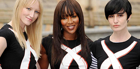 Naomi Campbell, Erin O'Connor and Jade Parfitt