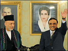 Hamid Karzai (left) and Asif Ali Zardari (right) - 9/9/2008