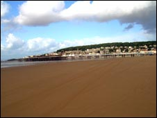 Empty beach at Weston Super Mare