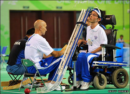 Grigorios Polychronidis of Greece on his way to boccia gold