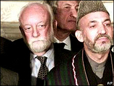 Mr Vendrell (left) and Afghan President Hamid Karzai