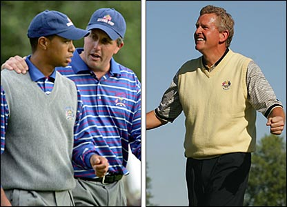 Tiger Woods (left) and Phil Mickelson; Colin Montgomerie