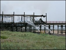 The pier after the fire on Tuesday