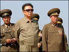 Kim Jong-il and generals - file photo