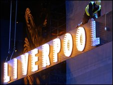 ": A stage hand performs during the production of ""Liverpool - The Musical"" at the Echo Arena"