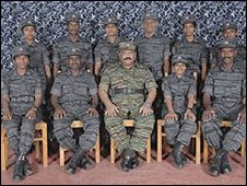 Tamil Tiger suicide attackers with rebel leader Prabhakaran