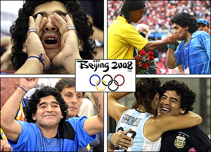 Maradona in Beijing: left, cheering on Argentine teams; top right, with Ronaldinho; bottom right, celebrating with an Argentine hockey player