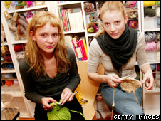 Fashion models at a knitting party hosted by IMG Models at Knit New York  (file photo)