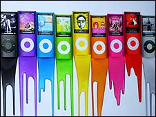 An ad shows colours of the new iPod Nano 