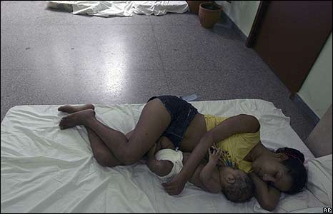 Evacuees from Hurricane Ike rest at a shelter in Havana (09/09/08)