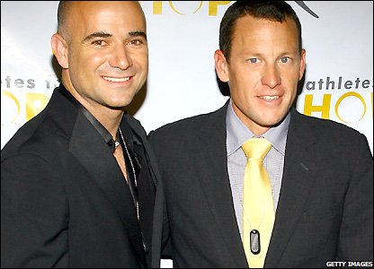 Armstrong poses with tennis star Andrew Agassi at then launch of Athletes for Hope