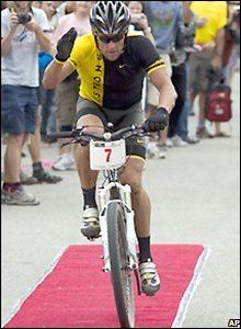 Armstrong finishes second at the Leadville 100 mountain bike race in August this year