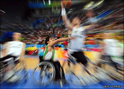 Wheelchair basketball action