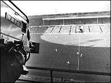 BBC camera covering World Cup game at Wembley in 1966