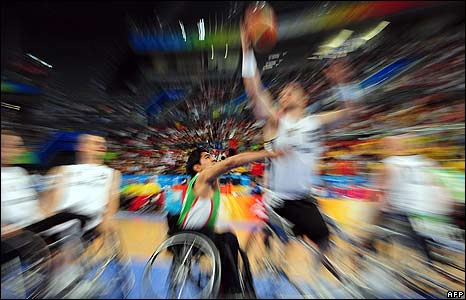 Germany vs Iran wheelchair basketball match at the 2008 Beijing Paralympic Games