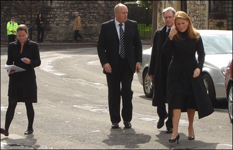 Duchess of York arriving at Mullany funeral service