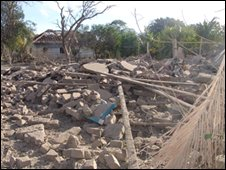 Rubble of civilian homes the Tigers say were hit in the raid