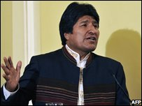 Bolivian President Evo Morales speaking after reshuffling his cabinet on 8 Sep 