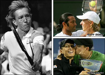 Clockwise from left: Navratilova on her way to the 1990 Wimbledon singles crown,  with Leander Paes after winning the 2003 Wimbledon mixed doubles, celebrating winning the 2006 US Open mixed crown wit