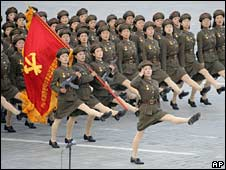 North Korean soldiers parade through Kim Il-sung Square in Pyongyang, North Korea, on Tuesday
