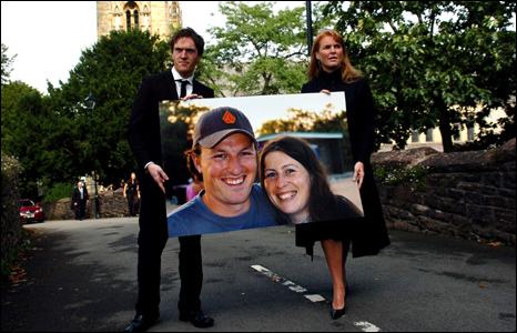 Ben Mullany's brother Adam and the duchess walked out of the cathedral with a picture of the couple.