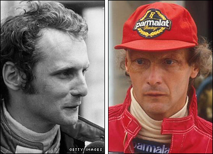 Nikki Lauda in 1975 (l) and in 1984 (r)