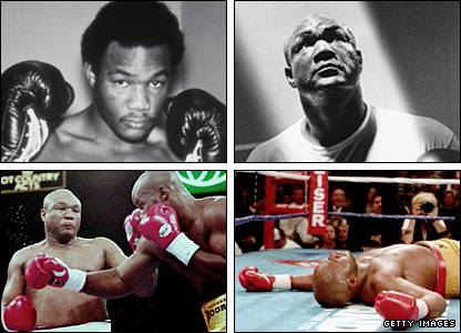 Clockwise from left: Foreman in the 1970s, Foreman in the early 1990s, Foreman fights  Michael Moorer, Moorer on the canvas after being knocked out by Foreman