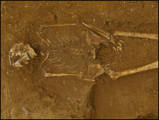 Roman skeleton (courtesy Leicestershire Councty Council)