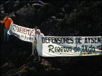 Manifestantes en contra del proyecto