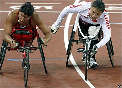 Canada's Chantal Petitclerc wins gold from China's Wenjun Liu