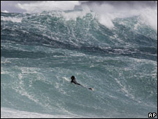 A surfer tackles a high wave off Bondi beach, Sydney, in September 2006
