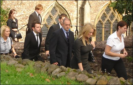 Mourners leaving Llandaff Cathedral