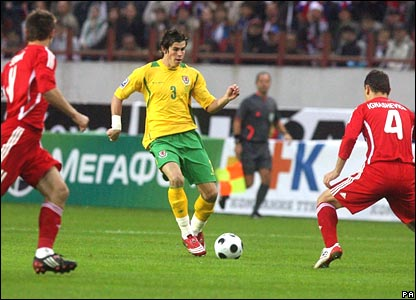 Gareth Bale, Wales, attacks the Russian defence