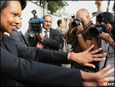 US Secretary of State Condoleezza Rice gestures towards the media
