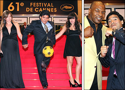 Maradona at the Cannes film festival with his daughters on the left, and with former boxer Mike Tyson