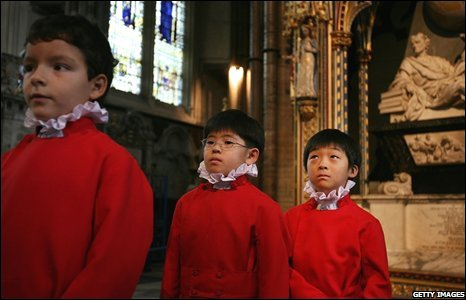 Choristers at Westminster cathedral in London, England