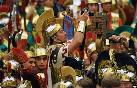 Spanish tourists dressed as Roman soldiers at the Vatican.