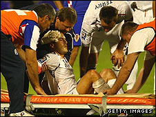 Joe Cole suffered a head injury in the second half