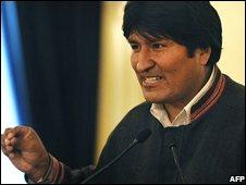 Bolivian president Evo Morales speaks in La Paz (05/09/2008)
