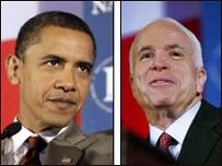 صورة مركبة تجمع بين جون ماكين (يمين) وباراك أوباما (يسار)
