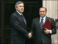 Gordon Brown and Silvio Berlusconi