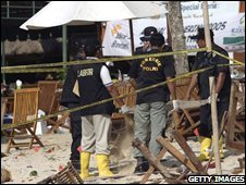 Indonesian police at the scene of the Bali bombing in 2002