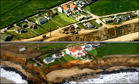 These images by photographer Mike Page show just how much the cliffs have eroded behind the Happisburgh guest house over the last 10 years.